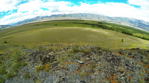 Time Lapse Panorama of Steppe in Mountains Stock Video Footage