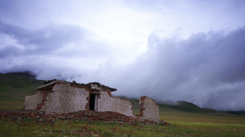 Time Lapse Ruined House and Storm Cloud Stock Video Footage