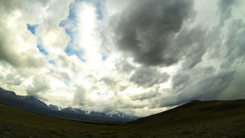Time Lapse Storm Clouds Above Mountains Stock Video Footage