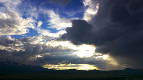 Time Lapse Sunset Cloudscape in Mountains Stock Video Footage