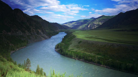 Time Lapse Valley of Mountain River Stock Video Footage