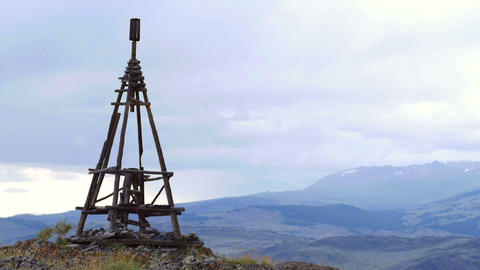 Wooden geodesic tower in Mountain landscape Footage