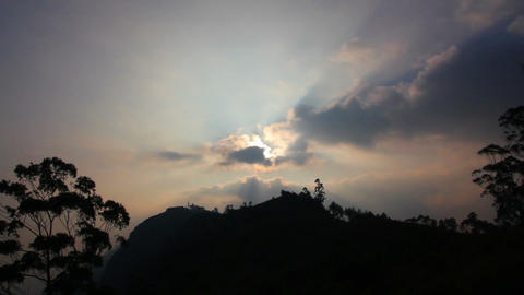 timelapse with sunset in mountains Stock Video Footage