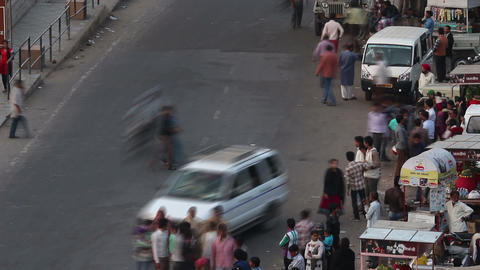 traffic on indian street - timelapse Stock Video Footage