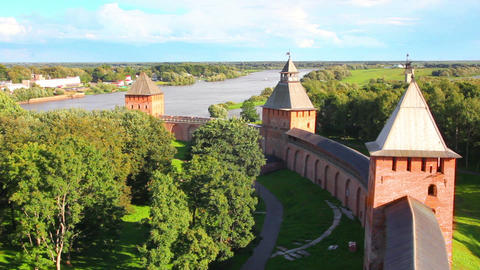 Veliky Novgorod - view from Kokuy tower on Kremlin Footage