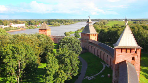 Veliky Novgorod - view from Kokuy tower on Kremlin Stock Video Footage