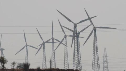 wind farm - turning windmill Stock Video Footage