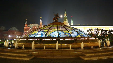 fountain Watch of the World at the Manege Square i Stock Video Footage