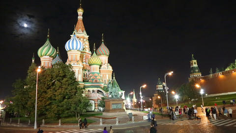St. Basil Church (Vasiliy Blazhenniy) in Moscow Ru Stock Video Footage