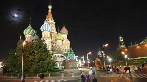 St. Basil Church (Vasiliy Blazhenniy) in Moscow Ru Stock Video Footage