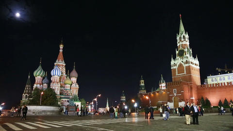 Kremlin and St. Basil Church (Vasiliy Blazhenniy) Stock Video Footage