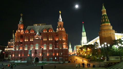 Russian Historical Museum on Red Square at nighrt  Footage