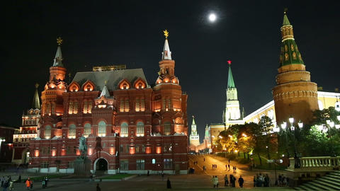 Russian Historical Museum on Red Square at nighrt Stock Video Footage
