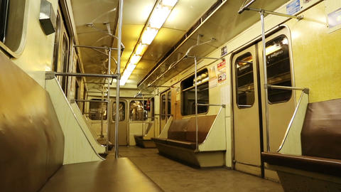 interior of moving subway car Stock Video Footage