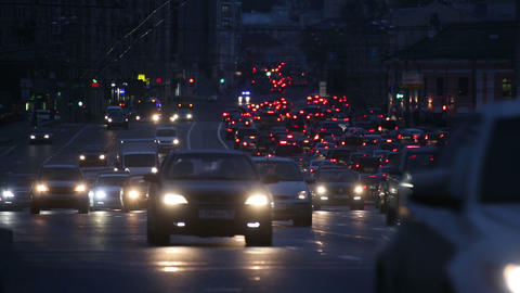 evening car traffic at rush hour in moscow - timel Footage