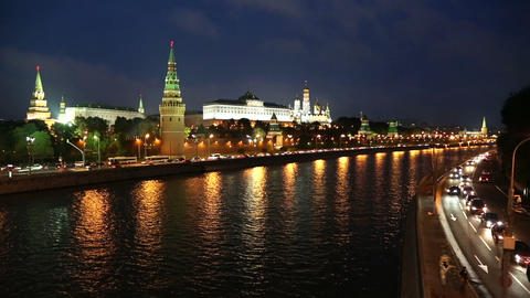 Moscow Kremlin and ships on river at night - timel Stock Video Footage