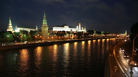 Moscow Kremlin and ships on river at night - timel Footage