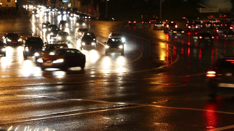 evening car traffic at rush hour in moscow - timel Stock Video Footage