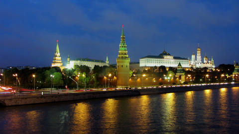 Moscow Kremlin and ships on river - from day to ni Stock Video Footage