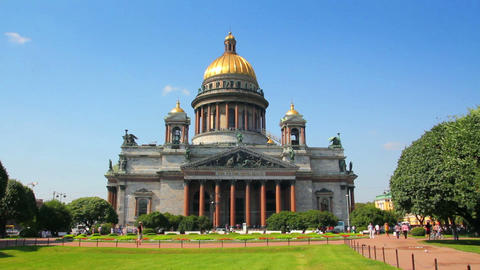 isaakiy cathedral church in Saint-petersburg, Russ Footage