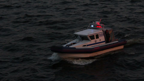 police boat in dusk Footage