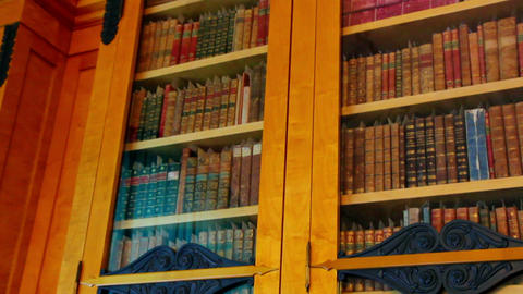 bookshelves with old books Stock Video Footage