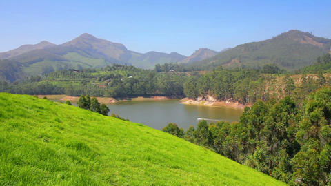 mountain landscape with lake in Munnar Kerala Indi Stock Video Footage