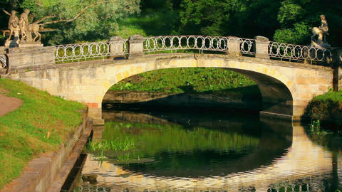 centaurs bridge in Pavlovsk park St. Petersburg Ru Stock Video Footage