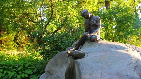girl with jug statue in Pushkin park St. Petersbur Stock Video Footage
