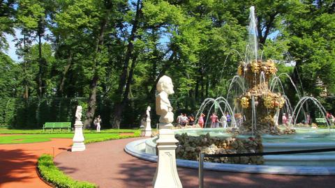 renovated Summer garden park in St. Petersburg Rus Footage