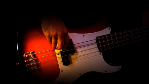 Bass Red Player Black Background Recording Studio Stock Video Footage