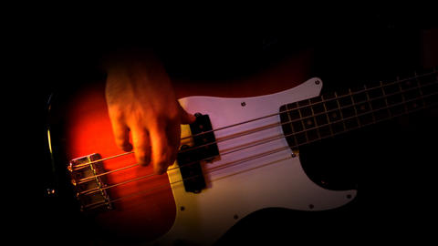 Bass Red Player Black Background Recording Studio  stock footage
