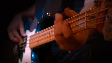 Bass Blue Player Black Background Recording Studio Stock Video Footage