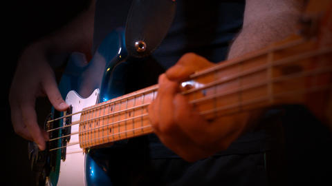 Bass Blue Player Black Background Recording Studio Footage