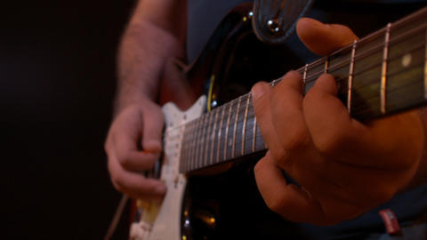 Electric Guitar Player Black Background Recording Stock Video Footage