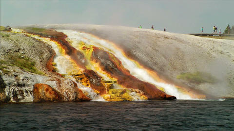 Overflow from Excelsior Geyser runs into the Yello Stock Video Footage