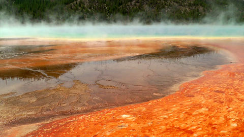 Colorful bacteria mat surrounding Grand Prismatic Stock Video Footage