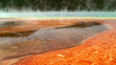 Colorful bacteria mat surrounding Grand Prismatic  Footage