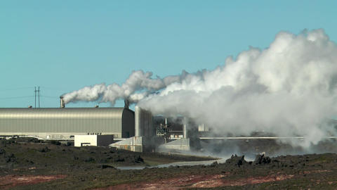 Geothermal power plant at gunnuvher on southern pe Stock Video Footage