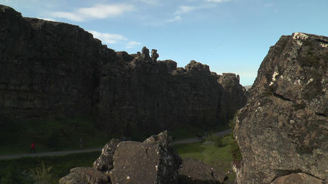 Dramatic Fault And Rock Structure At Thingvellir ( stock footage