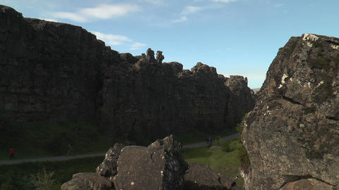 Dramatic fault and rock structure at thingvellir ( Stock Video Footage