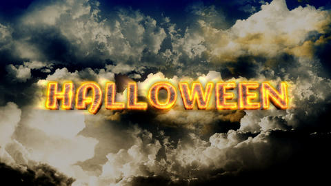 Halloween Title with Lightnings Stock Video Footage