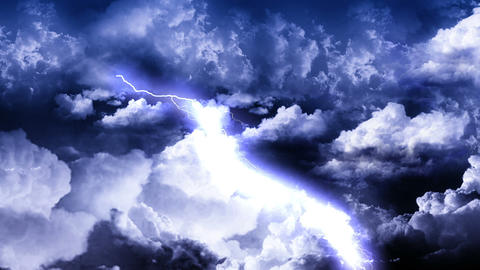 Lightning Thunderstorm on Sky Animation