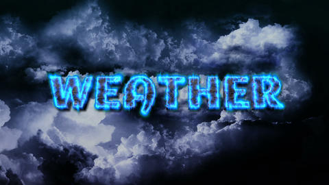 Lightnings on Sky with Clouds and Weather Title Stock Video Footage