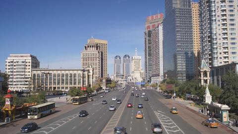 Harbin 04 Hong Jun Jie Traffic Stock Video Footage