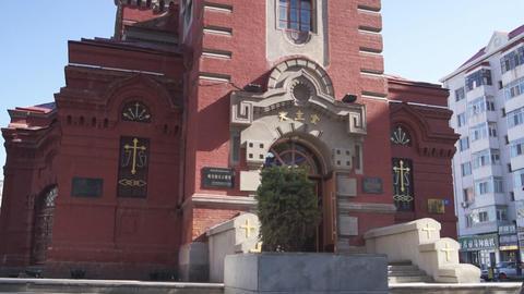 Harbin 06 St Alekseevsky church Stock Video Footage