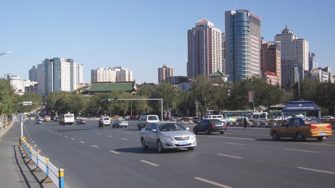 Harbin 09 Jihong Jie Traffic stock footage