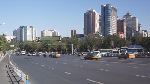 Harbin 09 Jihong Jie traffic Stock Video Footage