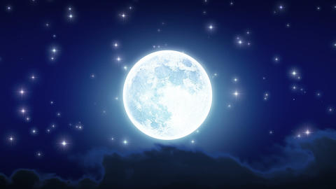 Beautiful Moon Shine with Stars and Clouds. Looped Animation