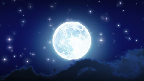 Beautiful Moon Shine with Stars and Clouds. Looped Stock Video Footage